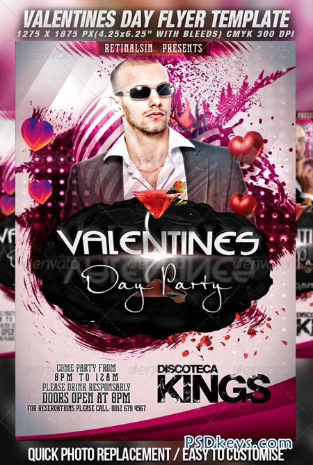 Valentines Day Party Flyer Template v.2 1270475