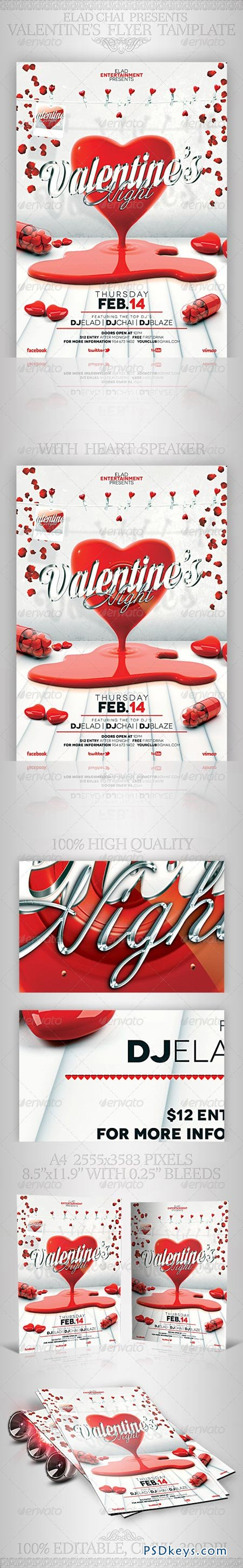 Valentine's Day A4 Flyer Poster Template 3816573