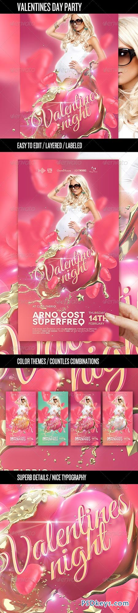 Valentine's Day Party Flyer Template 3832424