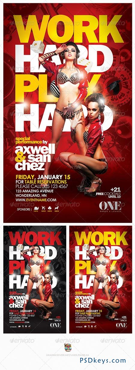 Work Hard Play Hard Flyer Template 6307926