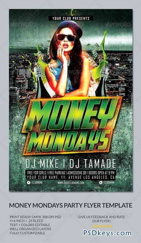 Money Mondays Party Flyer Template Free Download Photoshop - Money flyer template