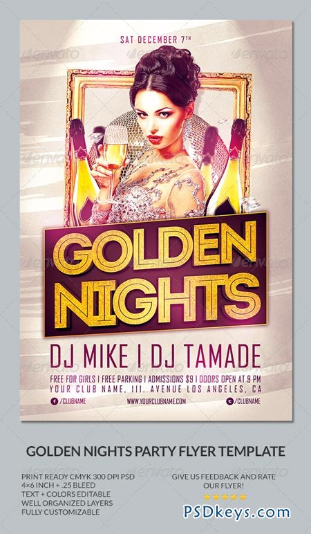 Golden Nights Party Flyer Template 6483500