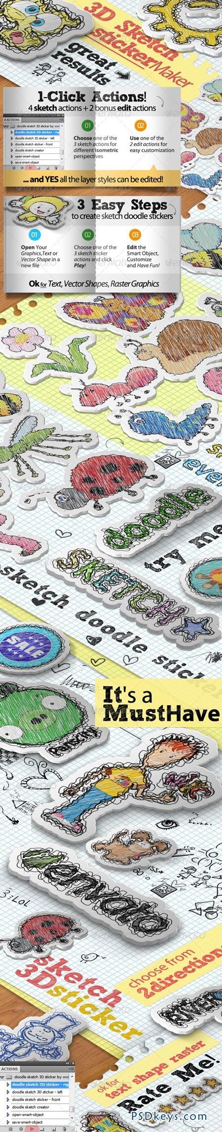 Sketch Doodle Sticker Photoshop Action 5456725