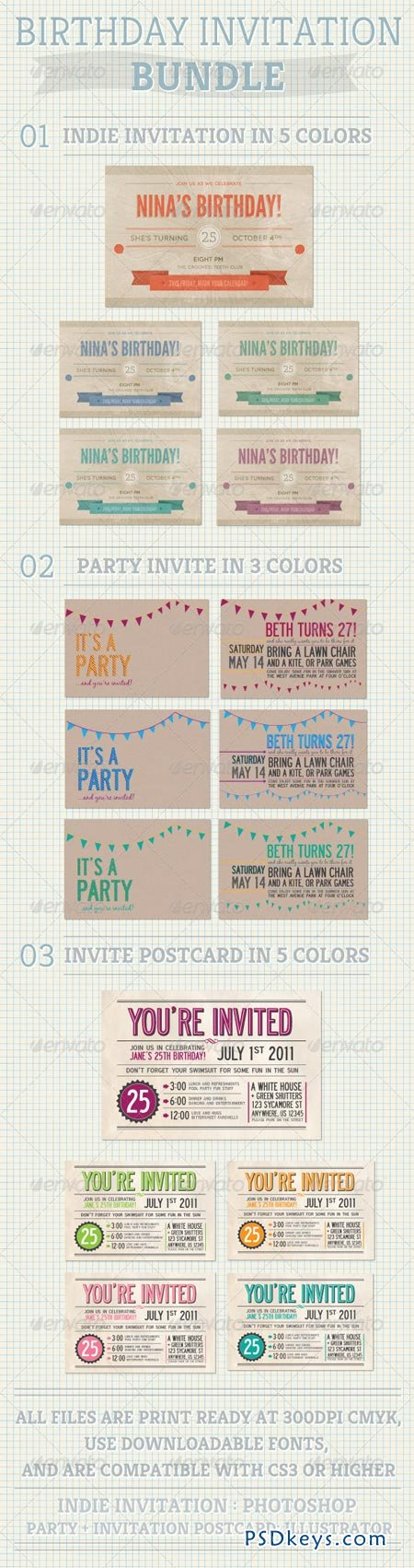 Birthday Invitation Bundle 654460