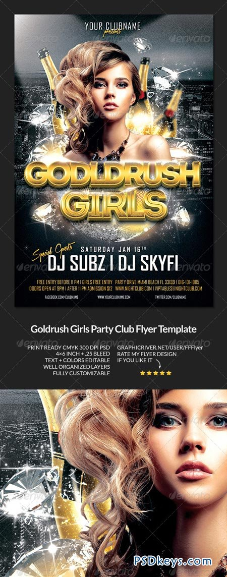 Goldrush Girls Club Party Flyer Template 6492598