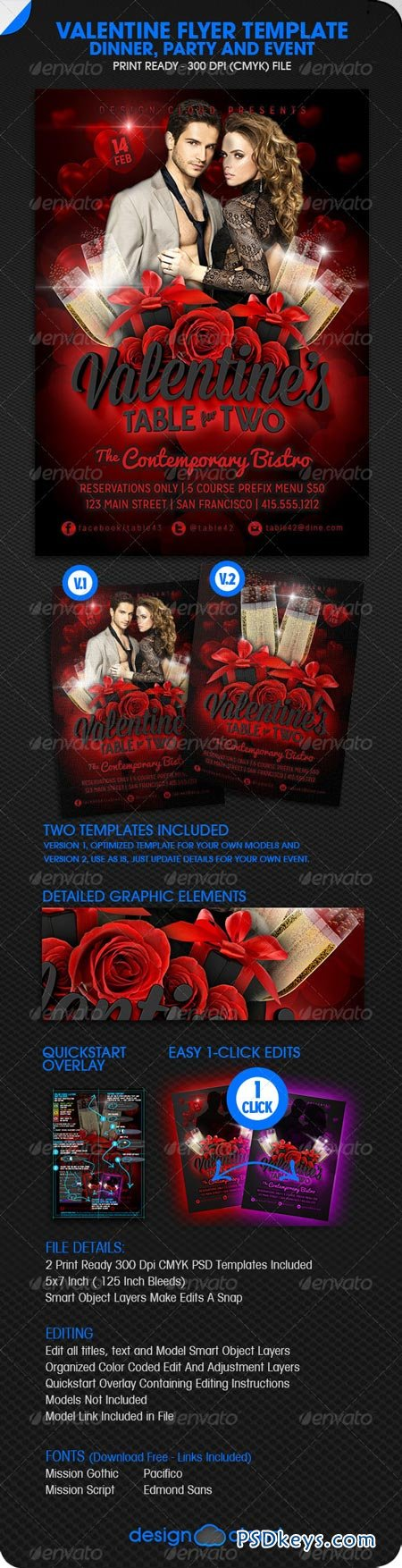 Valentine Dinner, Party and Event Flyer 6512071