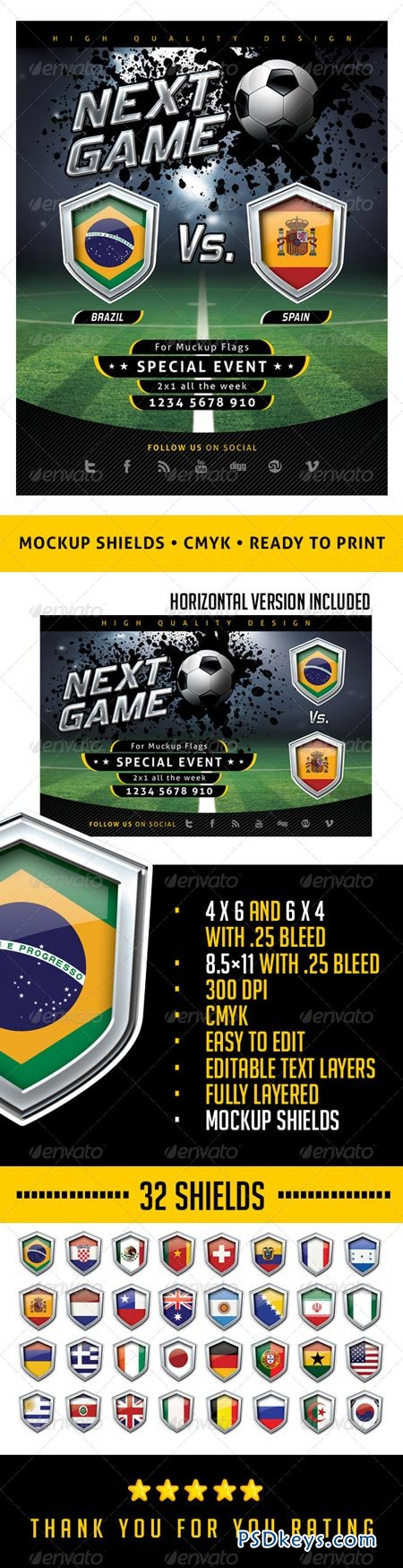 Flyer Soccer Template with Mockup Shields 6502798