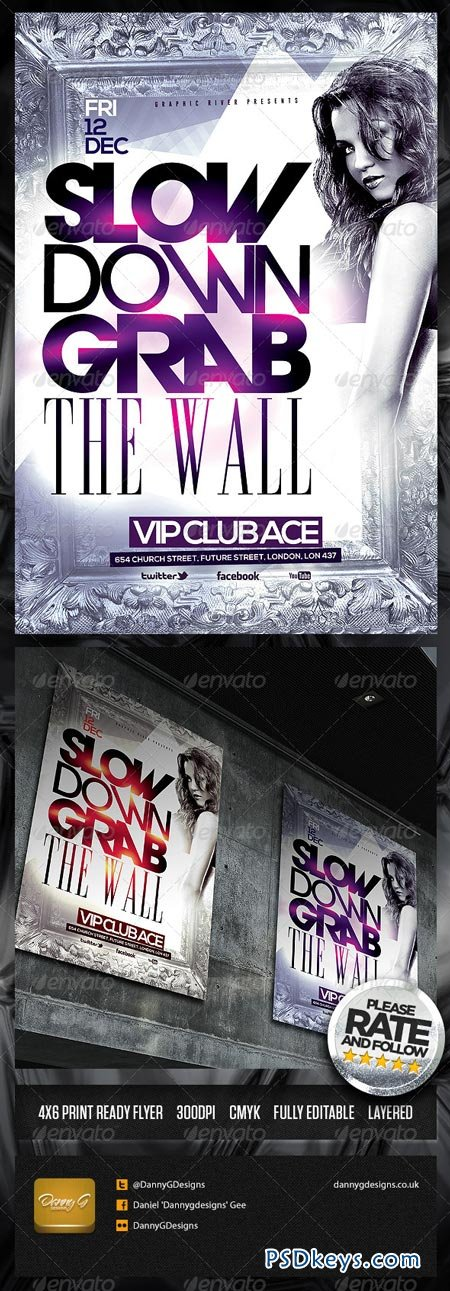 Slow Down Grab The Wall Flyer Template 6453782