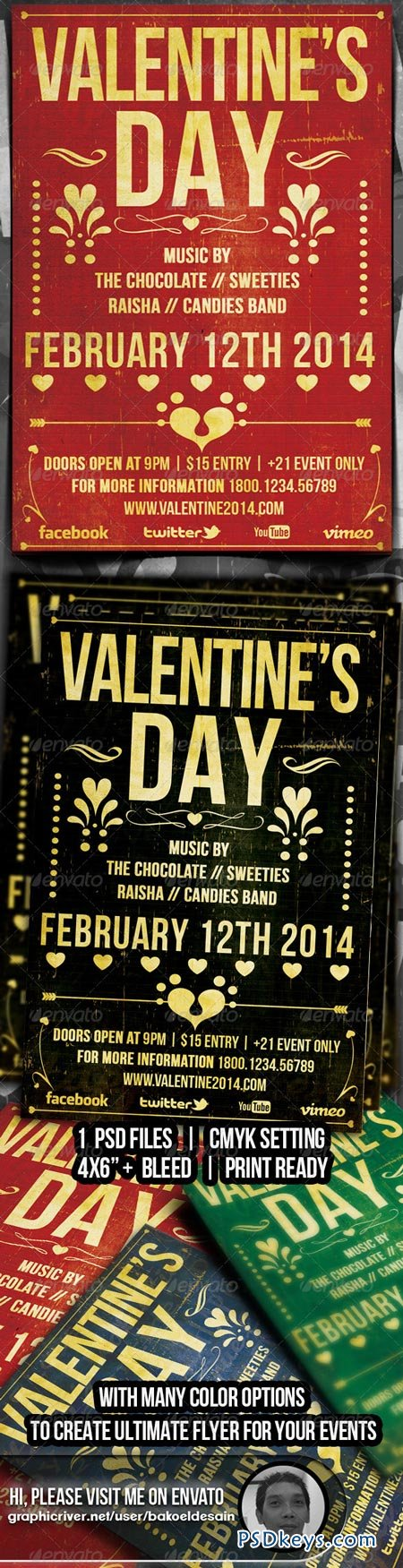 Valentine Typography Music Flyer 6533853