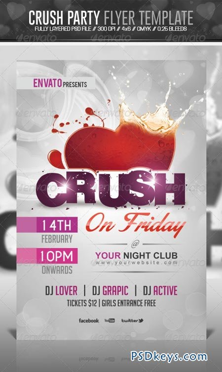 Crush Valentine Party Flyer Template 6532639