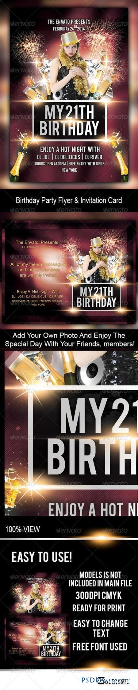 birthday party flyer and invitation card photoshop birthday party flyer and invitation card