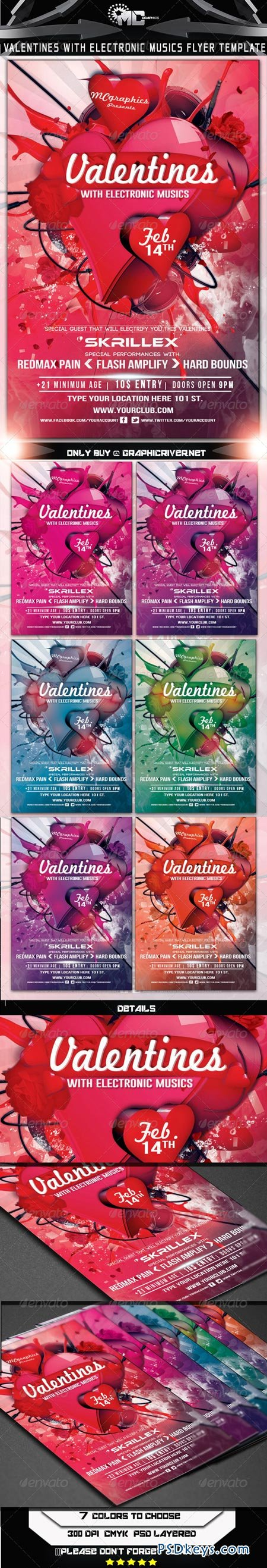 Valentines With Electronic Musics Flyer Template 6548642