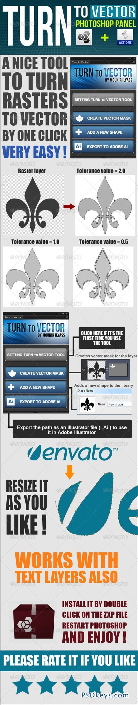 Turn To Vector Photoshop Panel + Actions 6463555