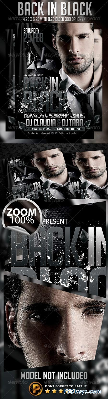 Back In Black Flyer Template   Free Download Photoshop