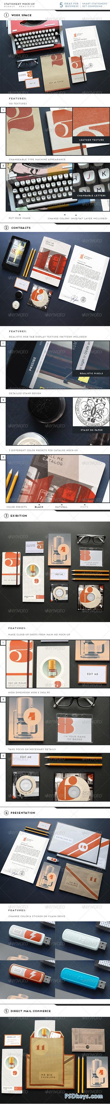 Realistic Stationery Branding Mock-Up 6579553