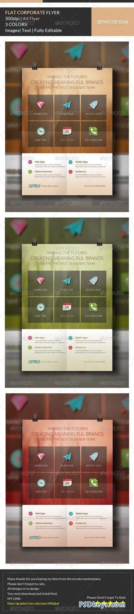 Flat Corporate Flyer Template 6666088