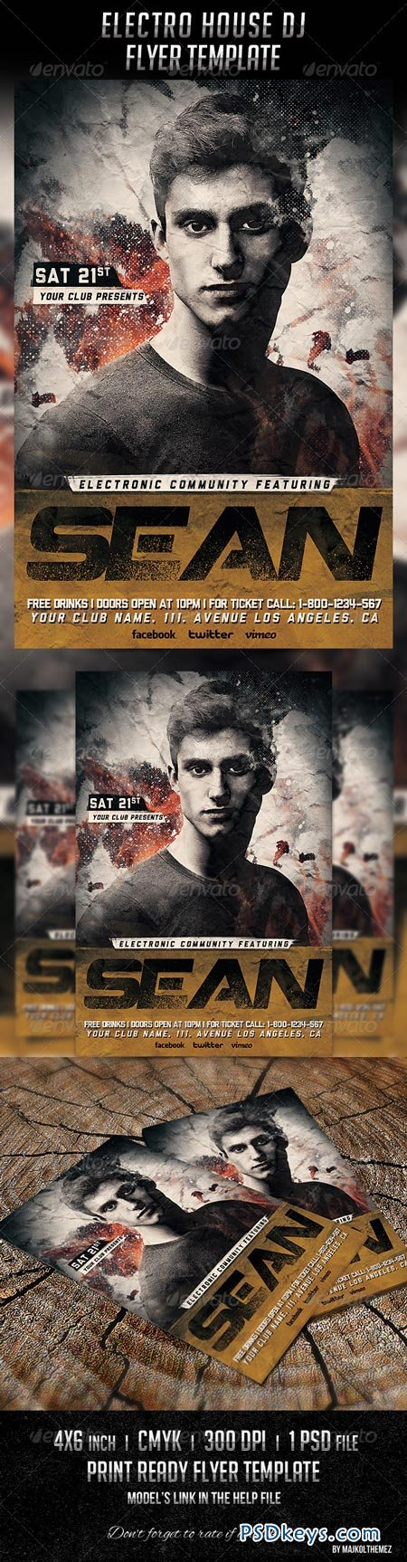 Electro House Dj Flyer Template 6674010