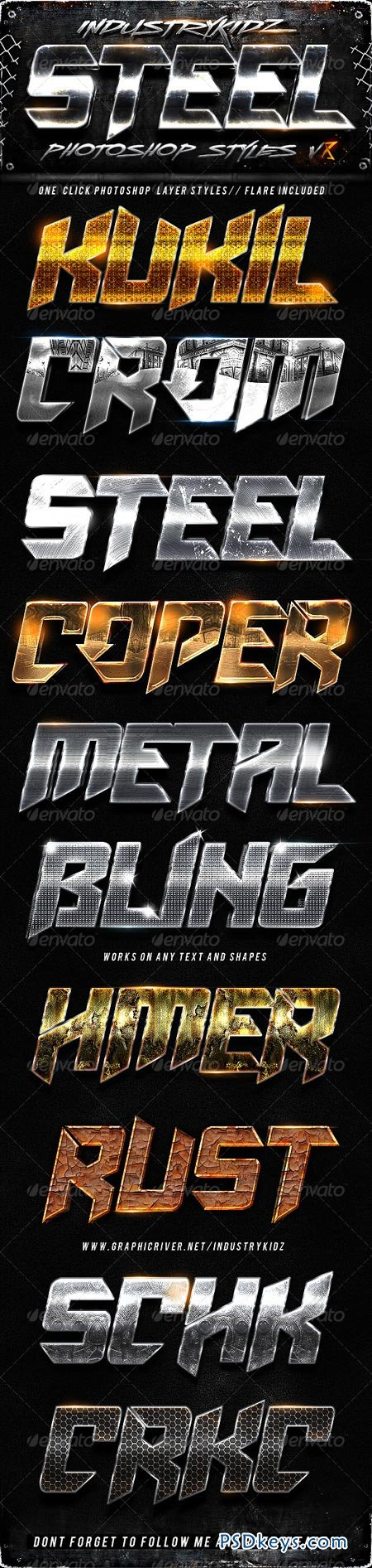 Metal Photoshop Layers Styles V8 6540570