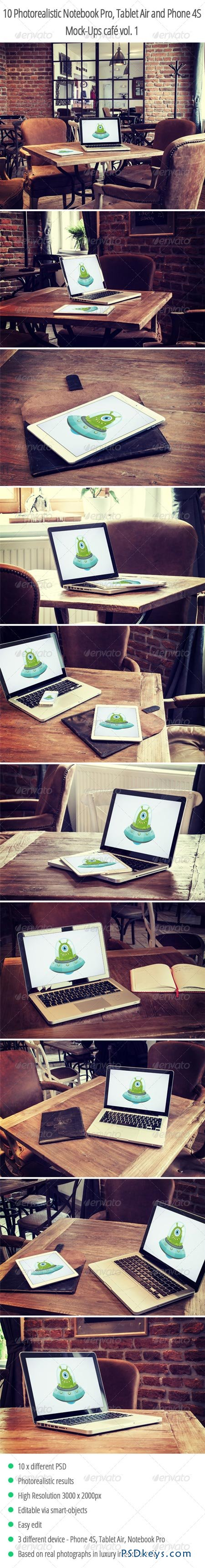 10 Photorealistic Device Mock-Ups in Cafe Vol.1 6652634