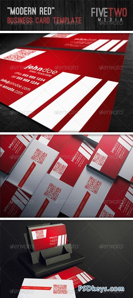 Modern Red Business Card 6662892
