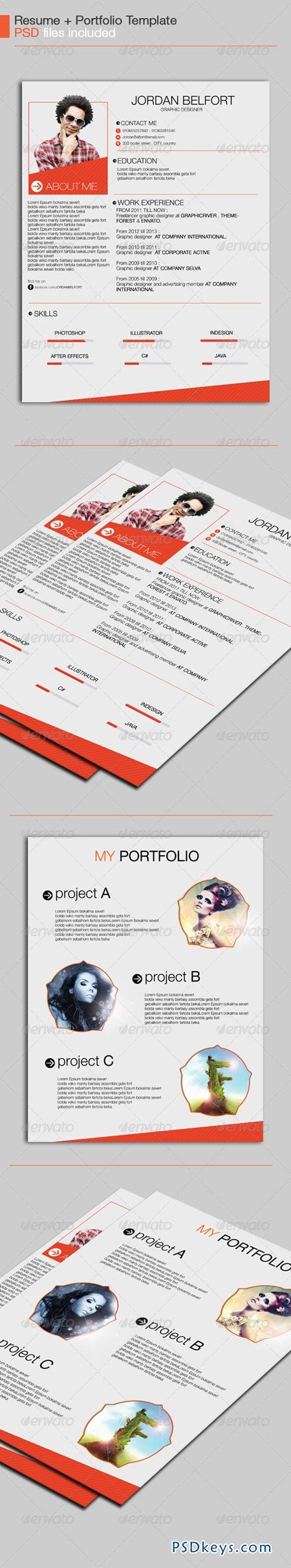 Resume Template   Free Download Photoshop Vector Stock Image