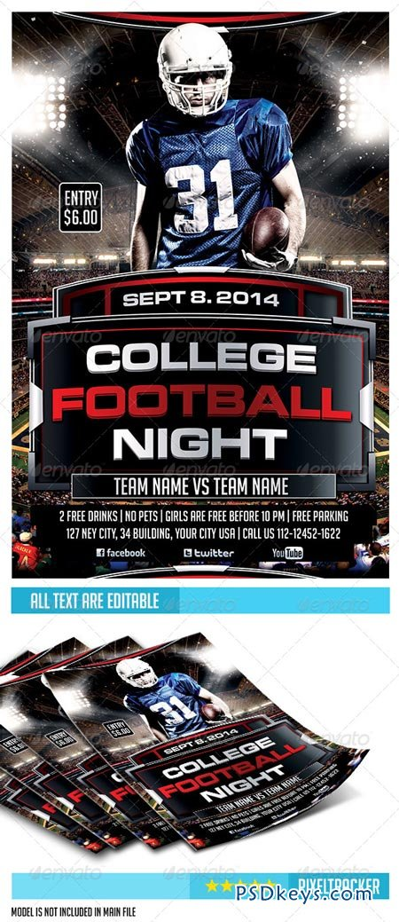 College Football Night Party Flyer Template   Free Download