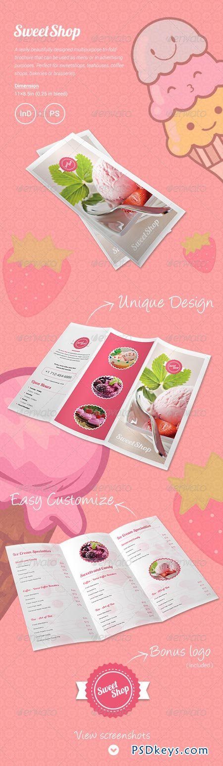 sweet shop menu tri fold brochure 6172490 free download photoshop vector stock image via. Black Bedroom Furniture Sets. Home Design Ideas