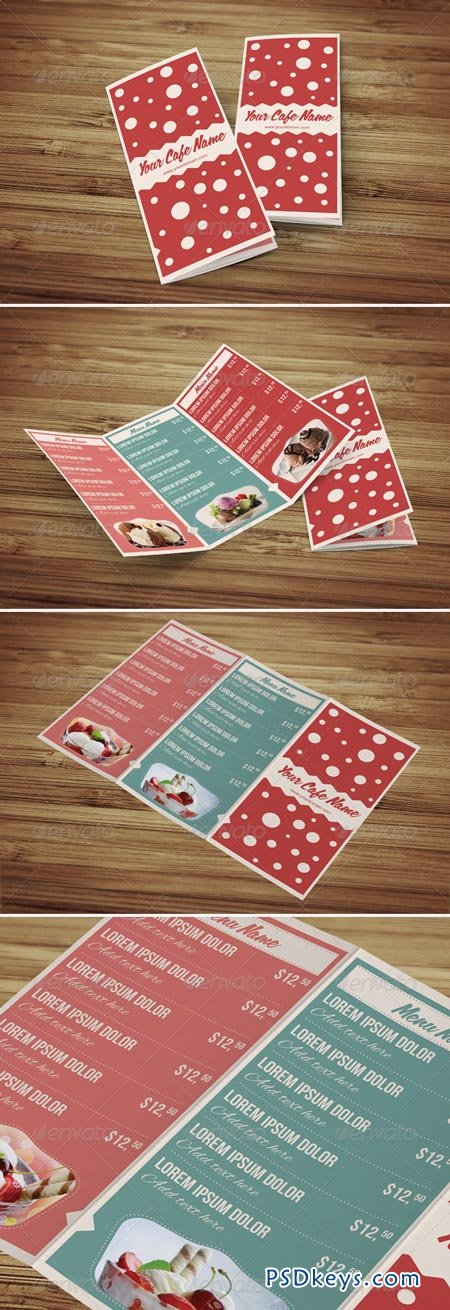 Sweet Shop and Ice Cream Trifold PSD Menu Template 4379875