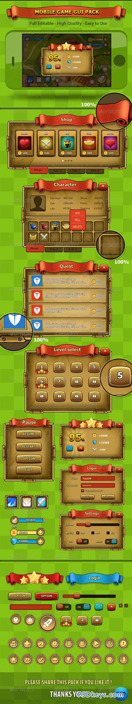 Fantasy - Mobile Game Gui Pack 6806501