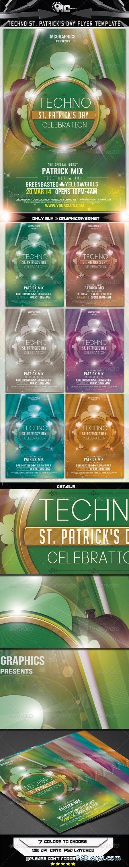 Techno St. Patrick's Day Flyer Template 6899142