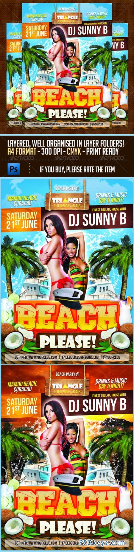 Beach Please Party Flyer Template 6897984