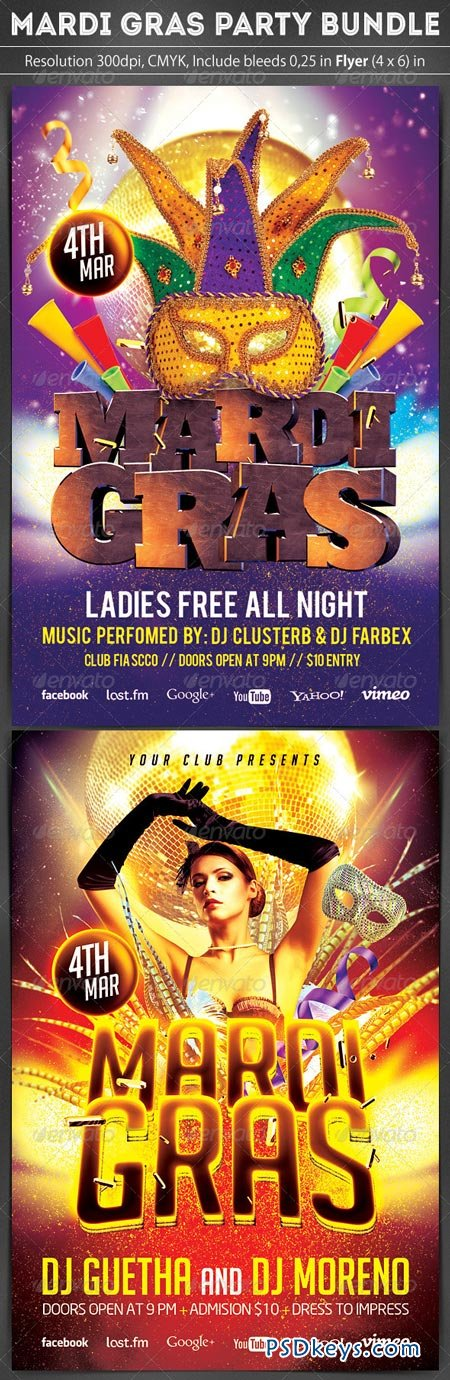 Mardi Gras Flyer Bundle 2 in 1 6898303