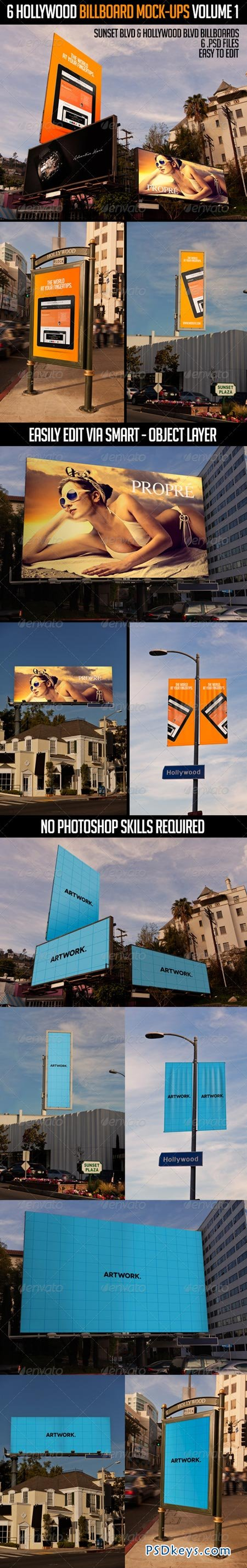 6 Hollywood Billboard Mock-Ups Volume 1 6839012
