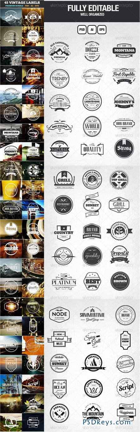 45 Vintage Labels & Badges Logos Bundle 6806495
