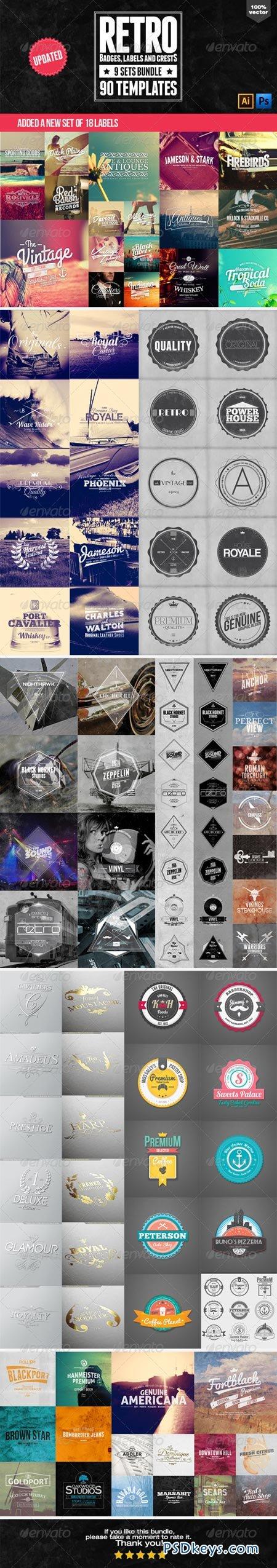 90 Retro Badges, Labels and Crests Bundle 6426736