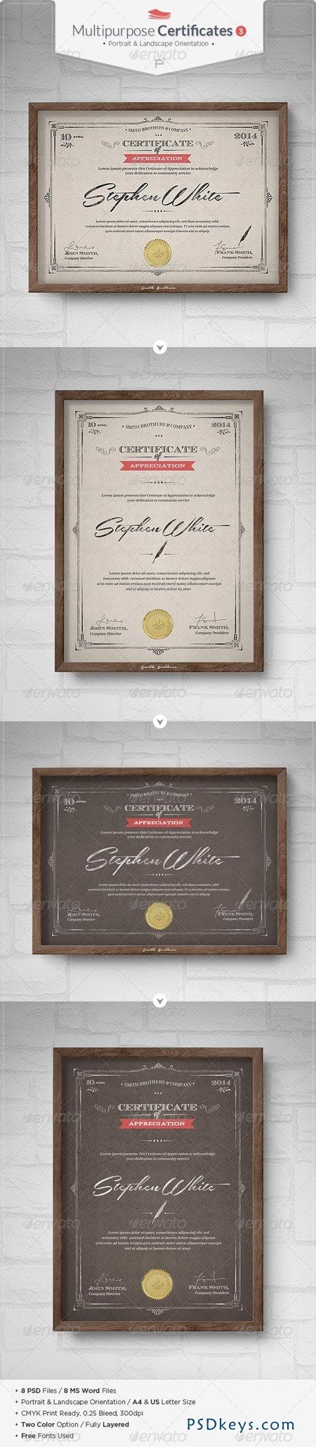 Multipurpose Certificates III 6949673