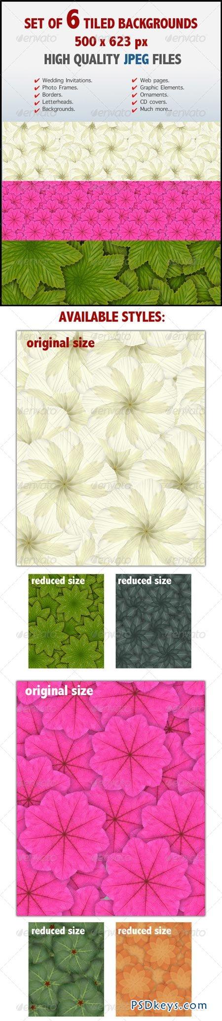 Kaleidoscopic Floral Tiled Backgrounds 7040200
