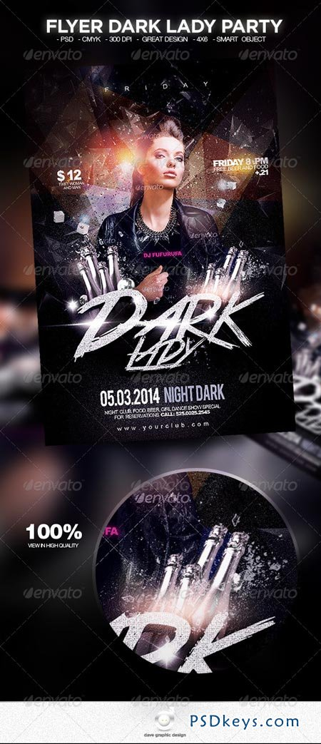 Flyer Dark Lady Party 6820166 » Free Download Photoshop
