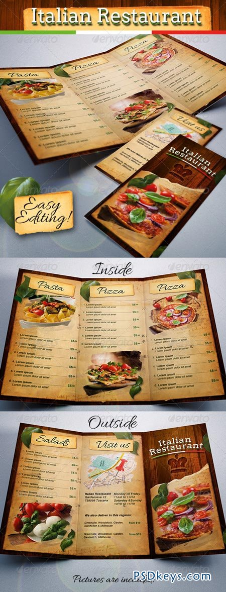 Italian Restaurant Food Menu Template Tri-Fold 6959628