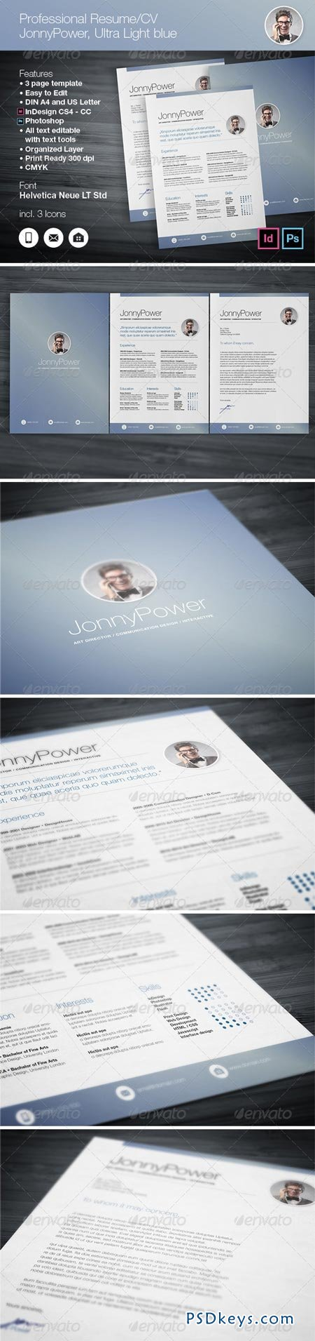 Professional Resume CV Ultra Light blue 6990237