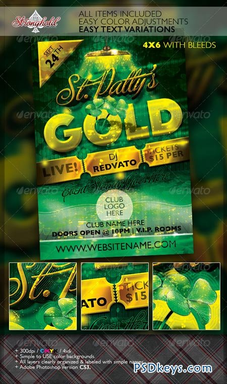 St. Patrick's Day Gold Event Flyer Template 6952886