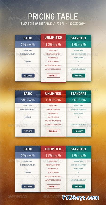 Pricing Table 6837256 » Free Download Photoshop Vector Stock