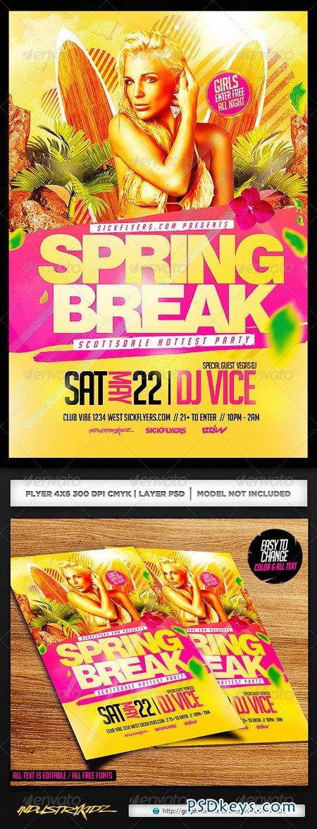Spring Break Flyer Template PSD 7105256