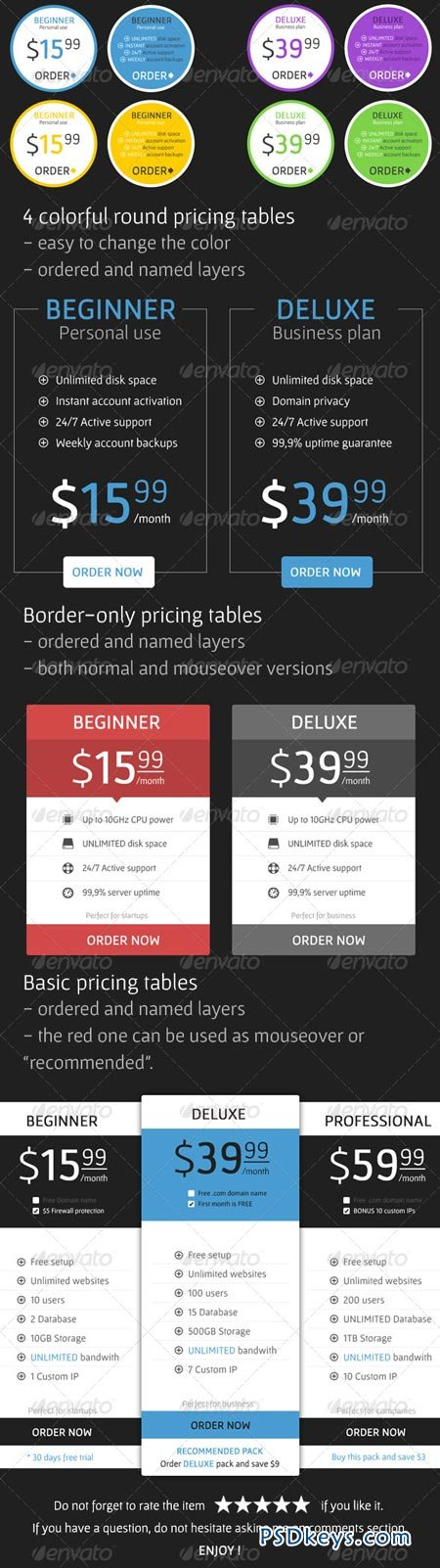 Flat Pricing Tables 7003670