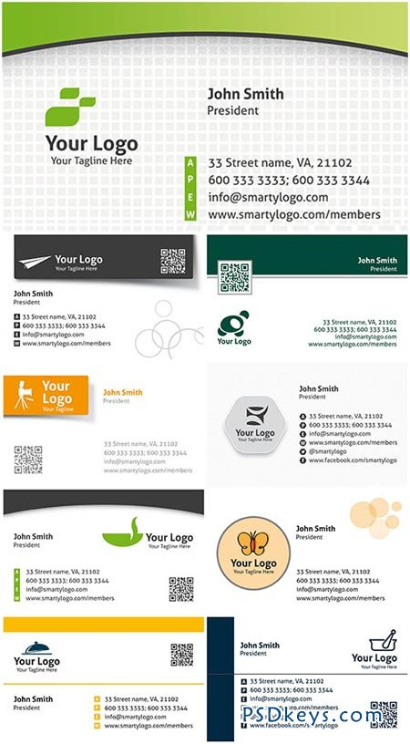Colored Premium Business Cards PSD Templates Vol.4