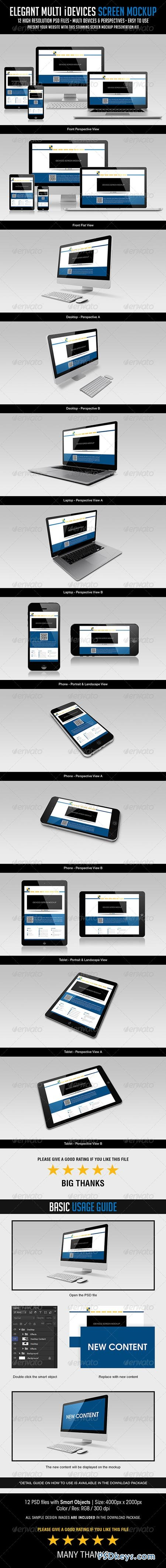 Elegant Multi iDevices Screen Mockup 7228412