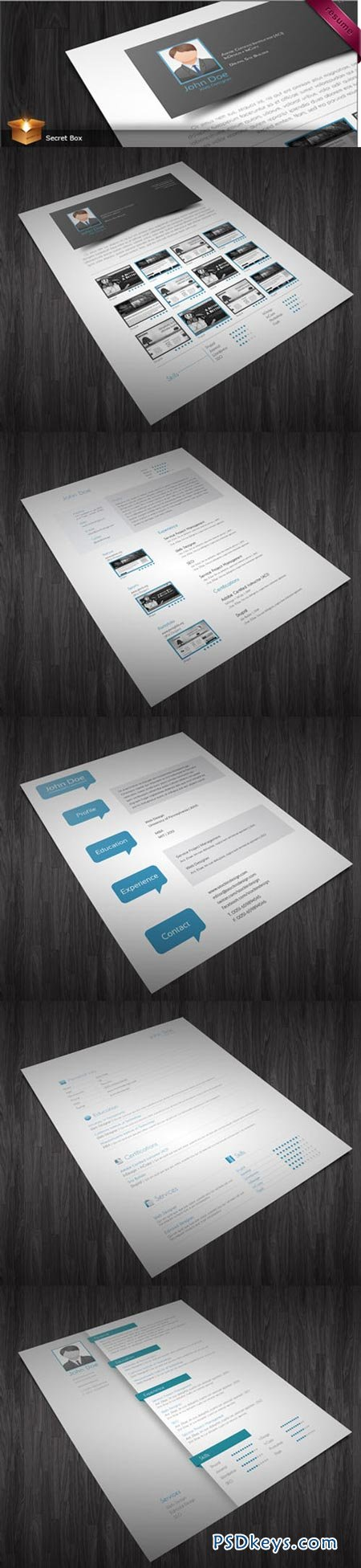 5 CV Resumes InDesign Templates » Free Download Photoshop Vector ...