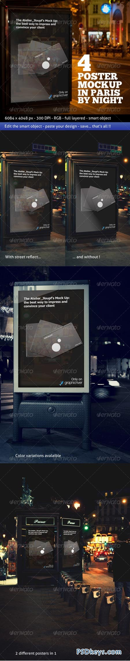 Photorealistic Poster Mockup In Paris By Night 979568