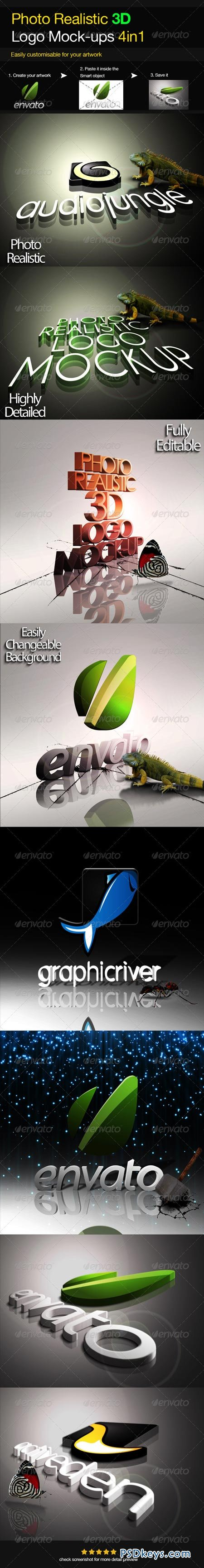 Photo Realistic 3D Logo Mock-up V.2 3693689