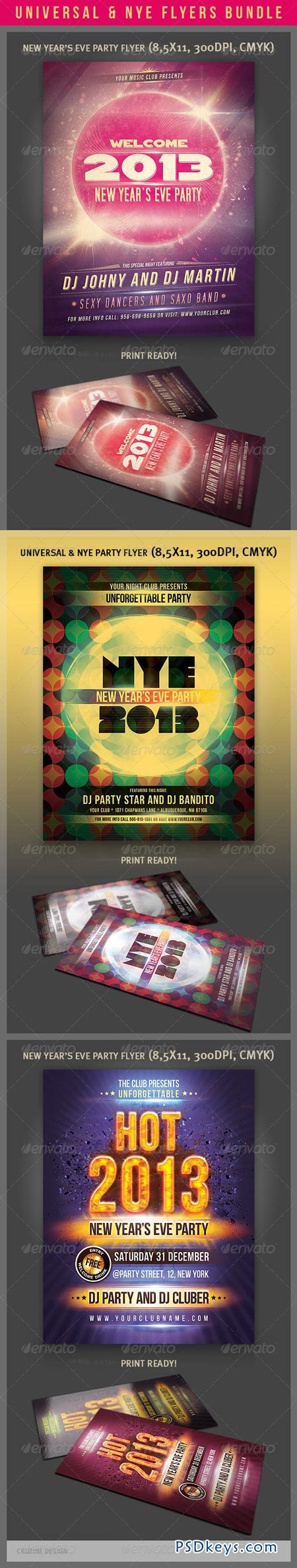 Universal & NYE Party Flyers Bundle 3567771